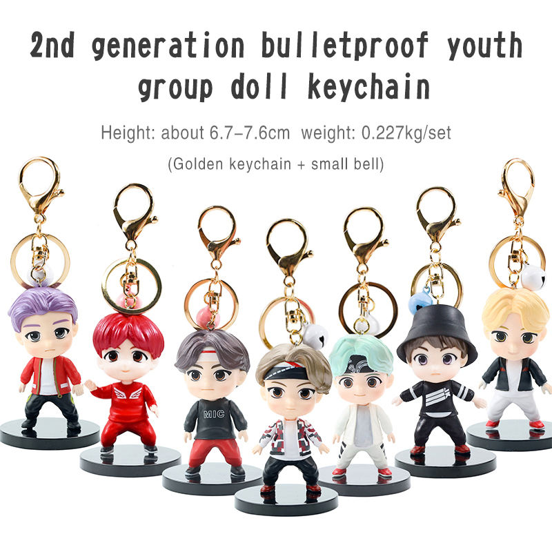K-pop cute cartoon V JIMIN SUGA JK star peripheral 3d hand office jewelry metal keychain
