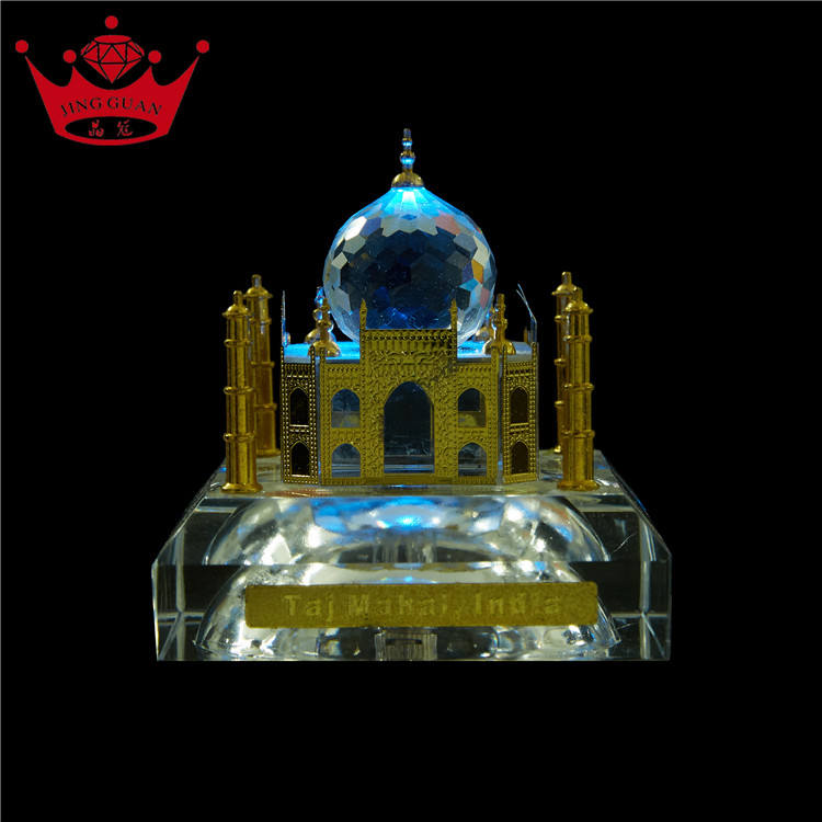 Wholesale Famous Crystal Glass Taj Mahal Building Model Indian Tourist Souvenir Gifts With Lamp Holder