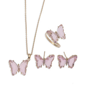 Fashion Butterfly Shape Design 14K Gold plated Necklace Earrings Rings Jewelry Set For Valentine's Day Gifts