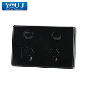 Youu Australia Power Black Double Power Point U1513B Switch dan Soket