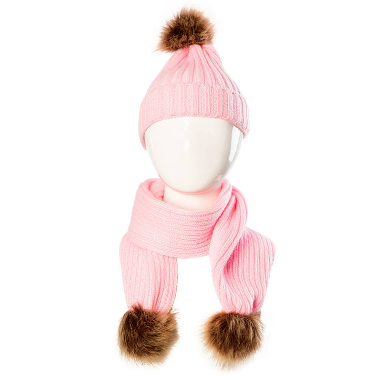 High quality winter hats baby beanie cap pom wholesale acrylic kid scarf and hat set