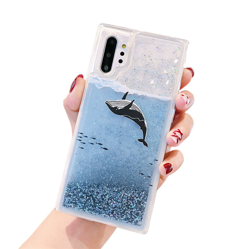 cartoon dolphin and whale design glisten quick-sand phone case light blue liquid casing for note 10 pro