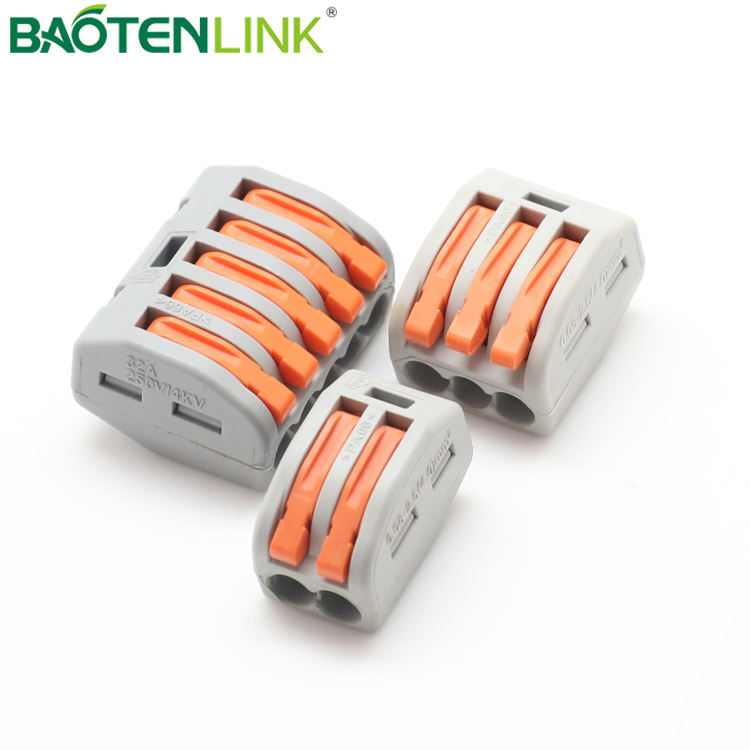 BAOTENG Universal Compact Wire Wiring Connectors 222-412/3/5 Lever Nut Wire Connectors, Push In Terminal Block 5p