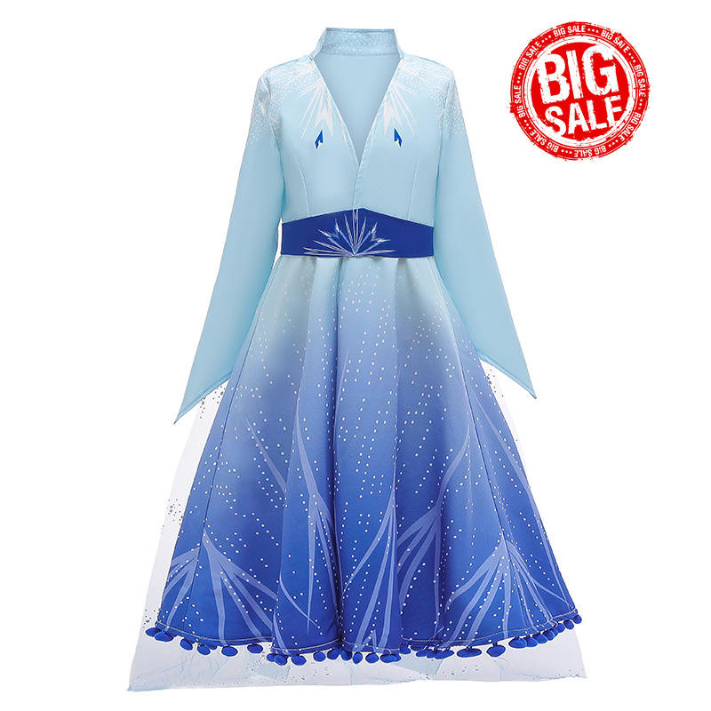 Cosplay Party Dress Girl Princess Elsa Anna Movie Frozn 2 Halloween Fairy Kids Fancy Cosplay Costume