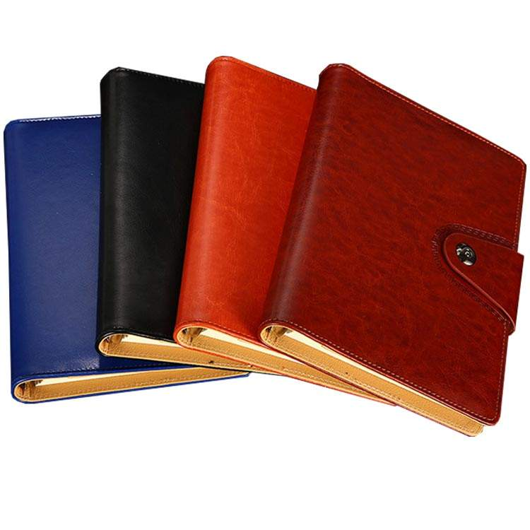 A5 Leather Notebook 6 Ring Binder Travel Diary Journal with Business Card Pocket & Pen Jack
