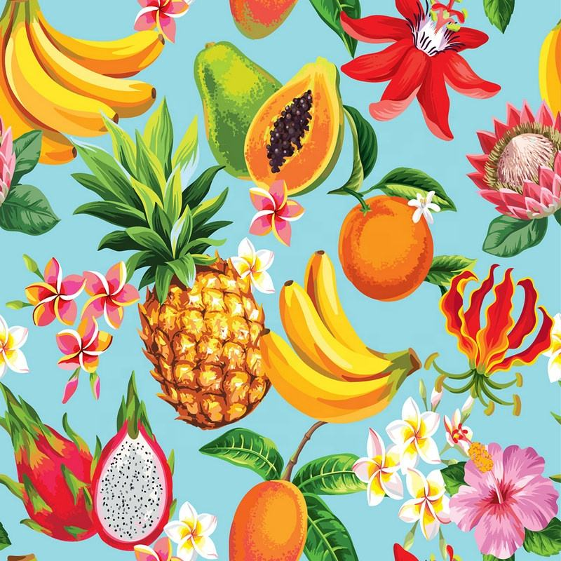 Fonesun-PS522-86 100% polyester material pineapple design print fiber fabric