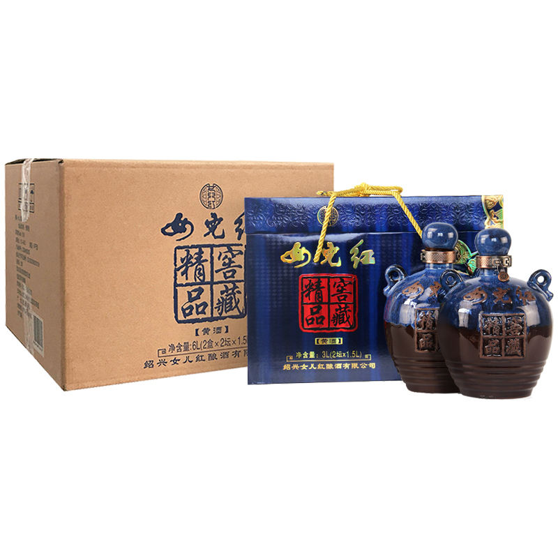 Manufacturer Superior Jiaocang Daughter Yellow Rice Wine Packed With Porcelain Bottle 1.5L for sale