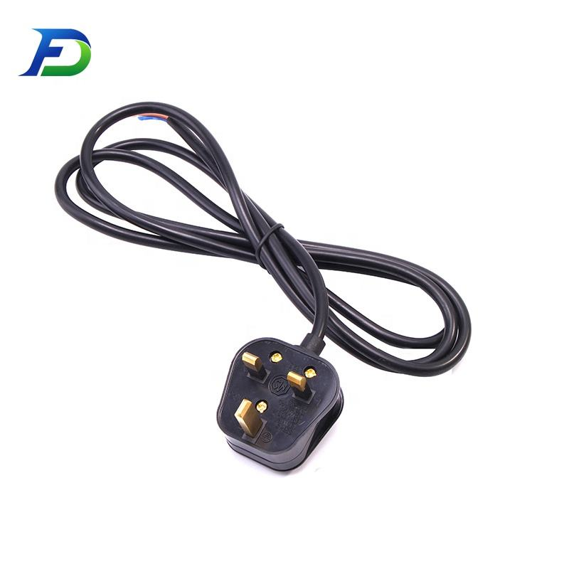 High Quality 13A 250V 3 Pin Plug UK AC Power Cord for Electric