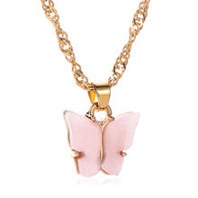 Bohemian Summer Gold Clavicle Chain Pink Acrylic Butterfly Charm Necklace Acrylic Butterfly Pendant Necklace