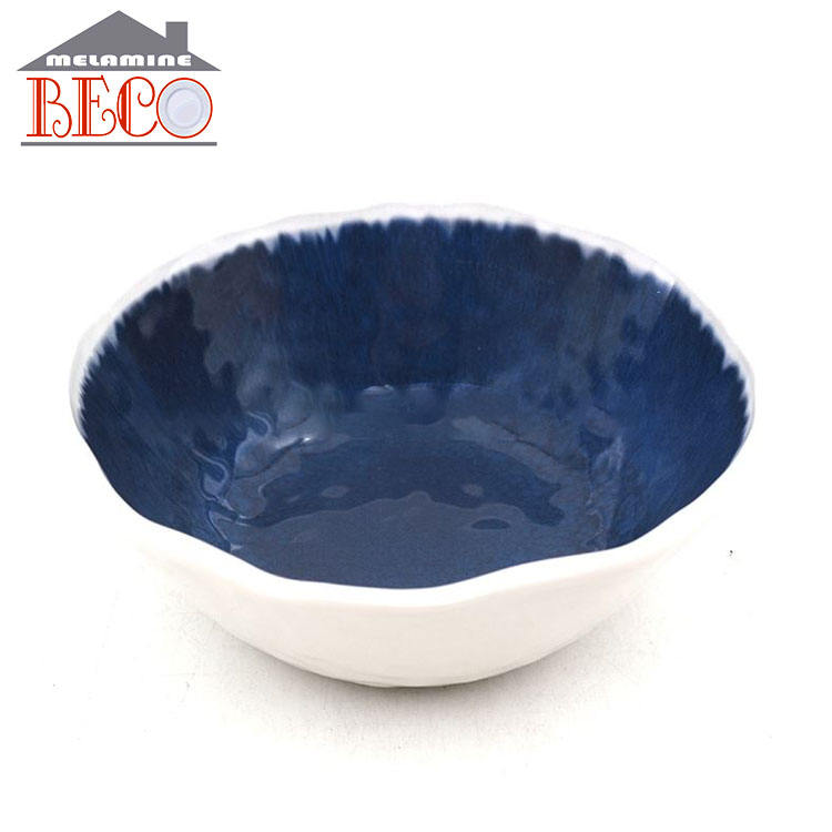wholesale blue round plastic soup bowls Melamine rice bowl set cookware