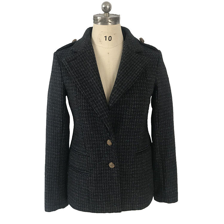women's 100%polyester bonded hound-tooth check wool blazer with turn down collar