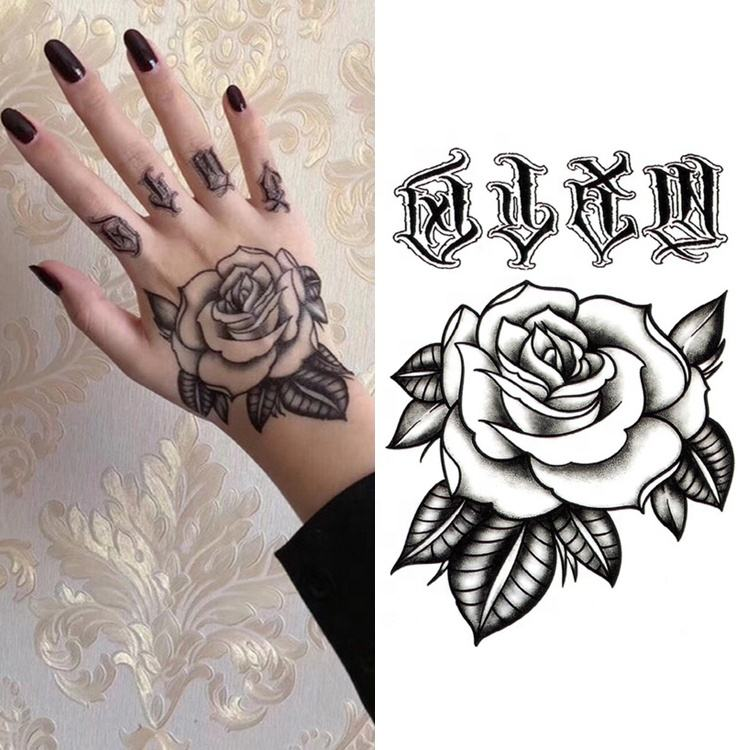 Waterproof Flower Rose Fake Arm Foot Back Body Art Temporary Hand Tattoo Sticker for Girl Women Men