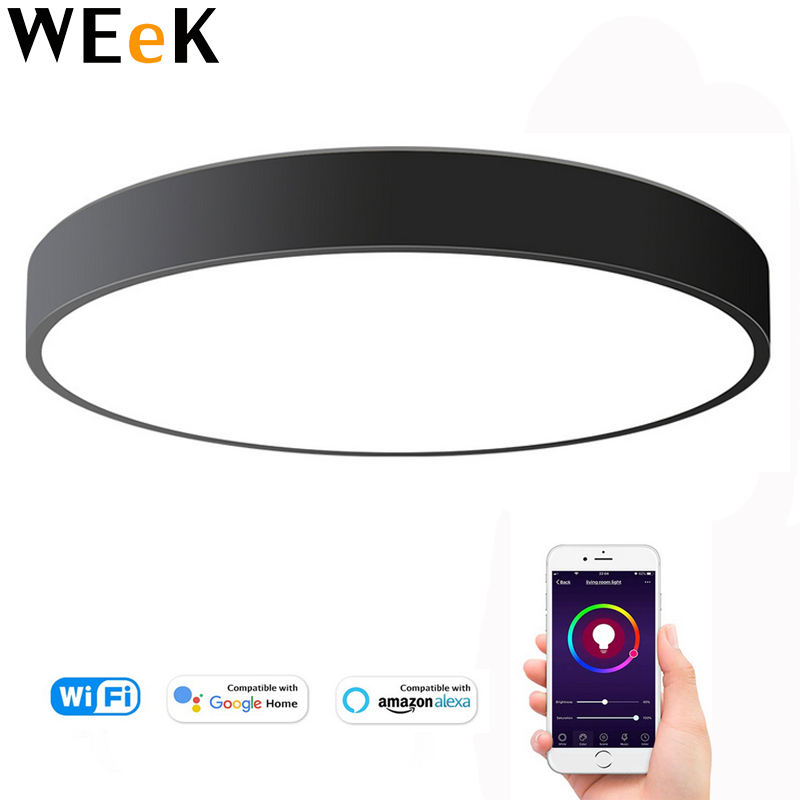 LED WIFI Intelligent Macaron Round Ceiling Light Lamp FixtureTimer Colors Changing Voice Control Android IOS System 36W 40cm