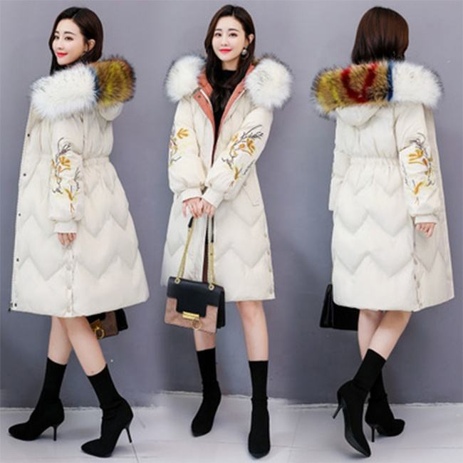 2019 Winter Long Women Down Coat Hooded Embroidery Fashion Women Coat