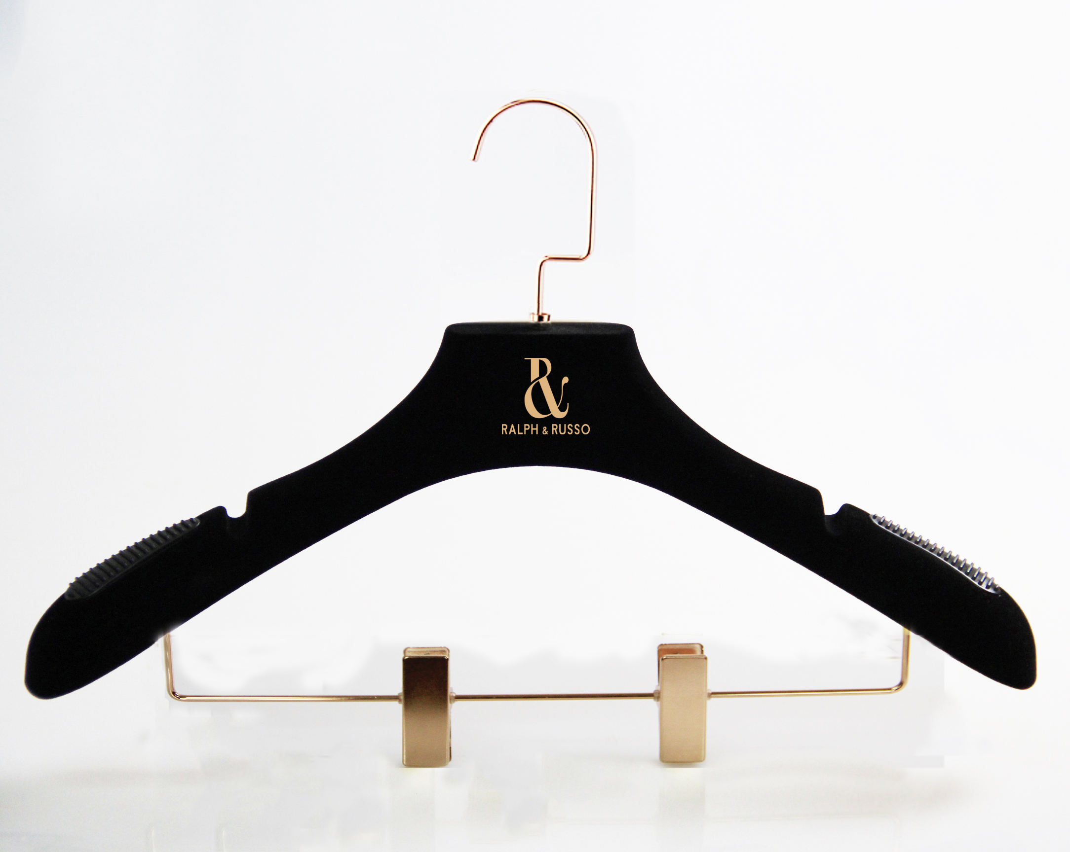 Black velvet hanger gold logo flocking clothes hanger with gold clips