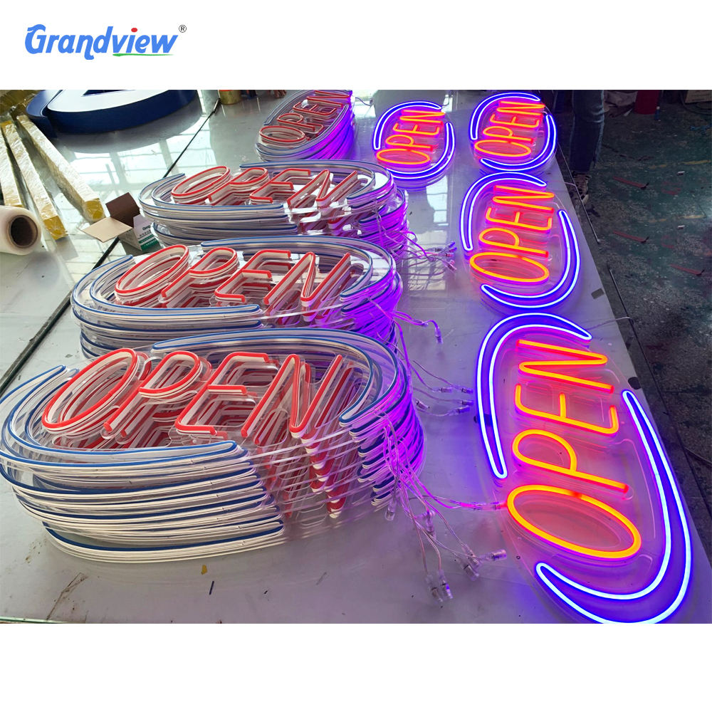 Decoración impermeable para exteriores e interiores NEON LED Store Open Sign acrílico neón led open sign