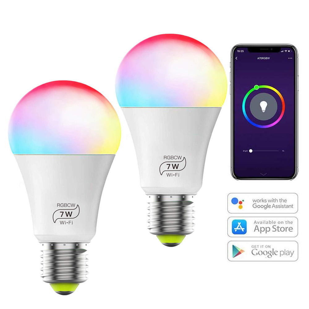 E27 Multicolor 60w Equivalent RGBCW 2700K-6500K 7W WiFi Smart Light Bulb Compatible with Phone Google Home and IFTTT