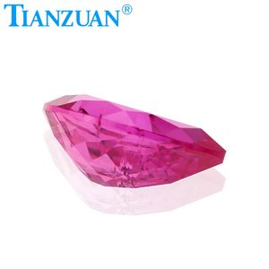 Pear natural cut 3# synthetic ruby corundum loose gemstone with inclusions