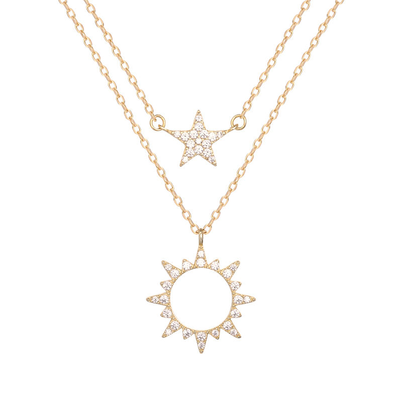 925 silver jewelry gold plated sun star Zircon pendant double layered necklaces for womens A652A