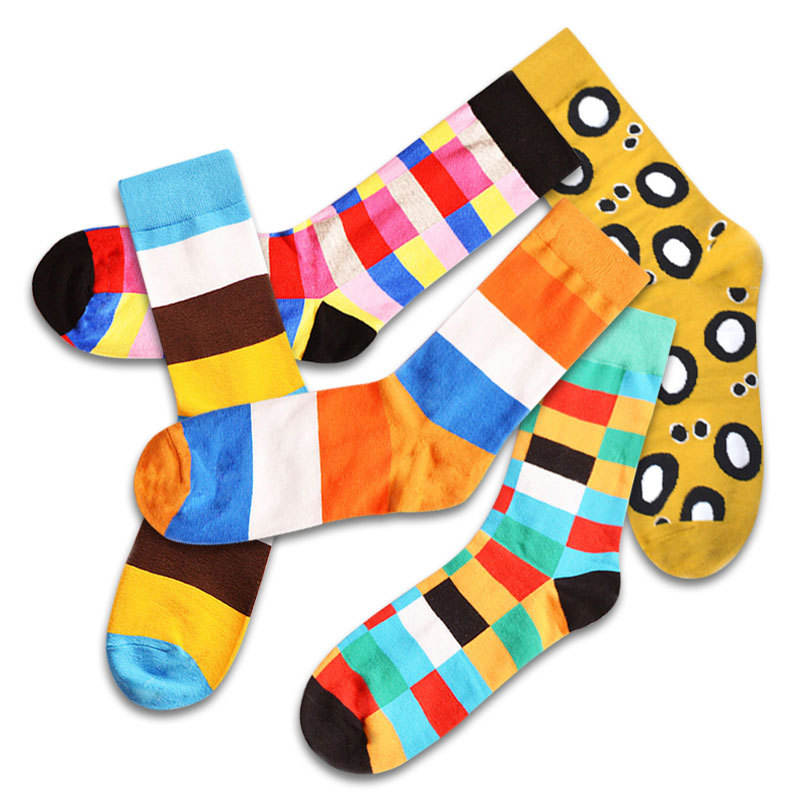 Super cool man British style casual harajuku designer happy socks funny socks