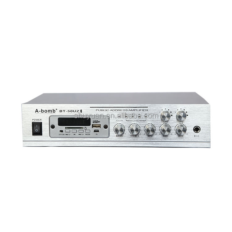 Professional H-50UZ 50W mini bluetooths power amplifier with USB SD card Mp3 FM LED display