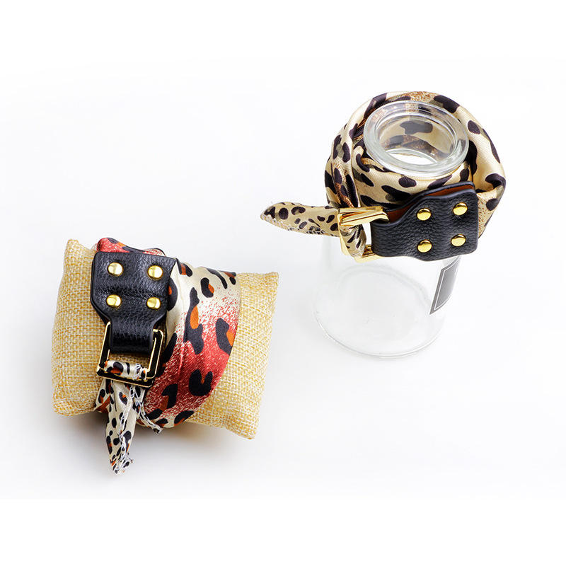 Trendy Polyester leopard silk scarf leather clasp Bracelet