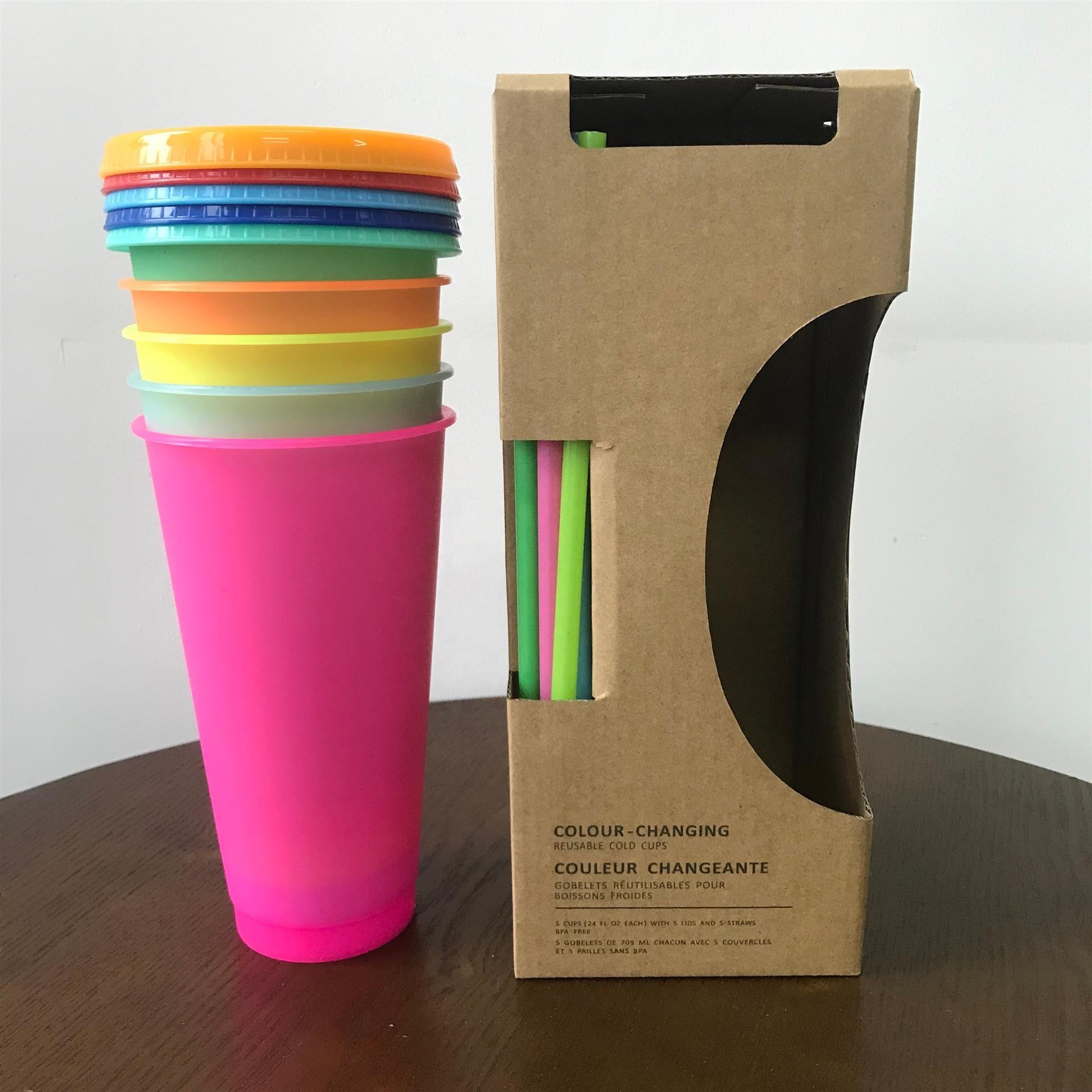 New cold coffee plastic color changing cup