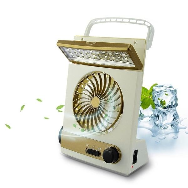 Portable USB Solar Fan Rechargeable Ac Dc With Light
