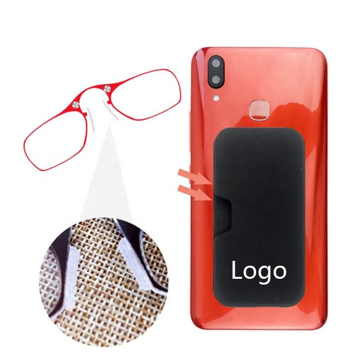 Mobile phone thin readers reading glasses foldaway clip on mini nose reading glasses without arms with anti slip silicone nose