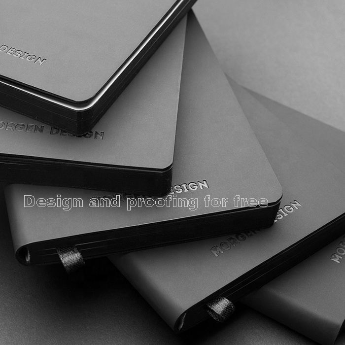 Luxury Business Custom Logo Printed Debossed Soft Black PU Planner Leather Notebook Stationary