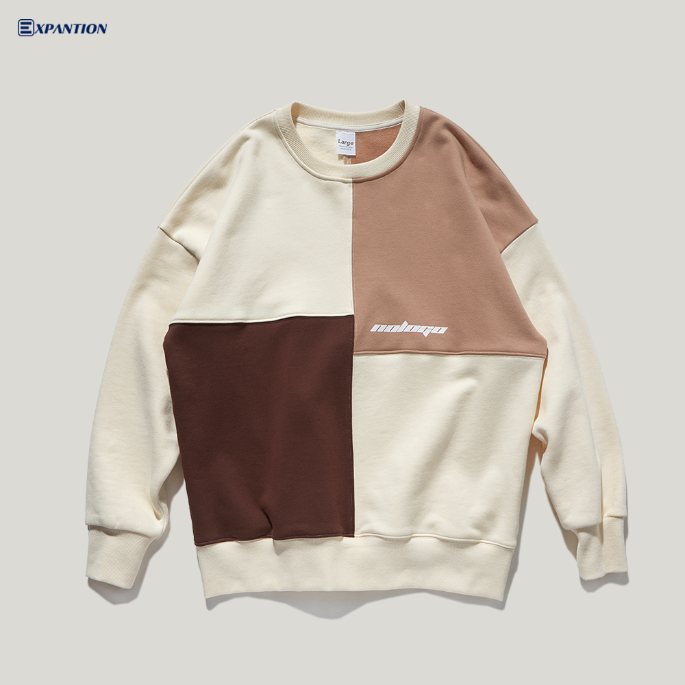 Factory Drop Shipping New Design Crew Neck Street Wear Colorblock Sweatshirt
