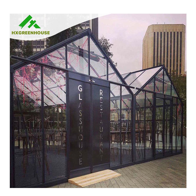Glasshouse garden luxury china winter cover mushroom green house solar glass greenhouse kits accessories multi-span greenhouses