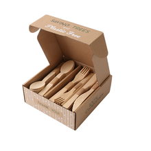 100pcs 16cm Biodegradable Birch Natural FDA FSC Certificate Eco-friendly Disposable Wooden Tableware with Subscription Box