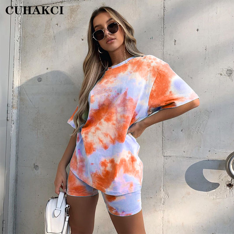 CUHAKCI Fashion Tie-Dye Women Colorful Slim Casual Round Neck T-Shirt Loose Gradient Short Set 7 color For Summer