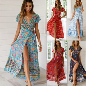 Sexy v neck short sleeve maxi flower printed summer Strapping waist maxi dresses women boho with belt