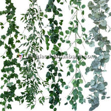 Green color artificial leaves plant artificial vine leaves for garden wall decoration
