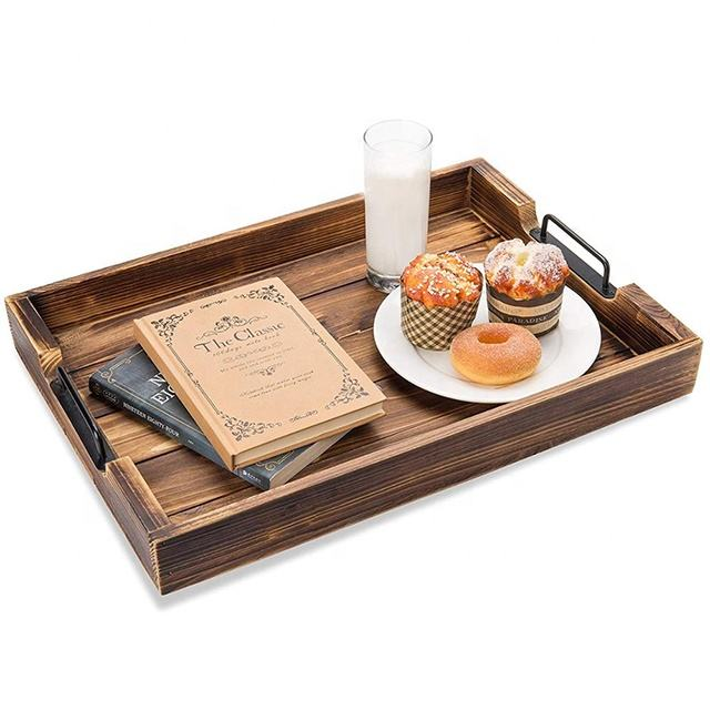 High Quality Custom Sizes Wooden handmade Product Rustic ottoman wooden trays Tray wooden tea serving tray