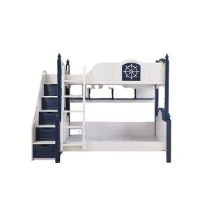 Funky design American style Children wooden bunk bed with staircase