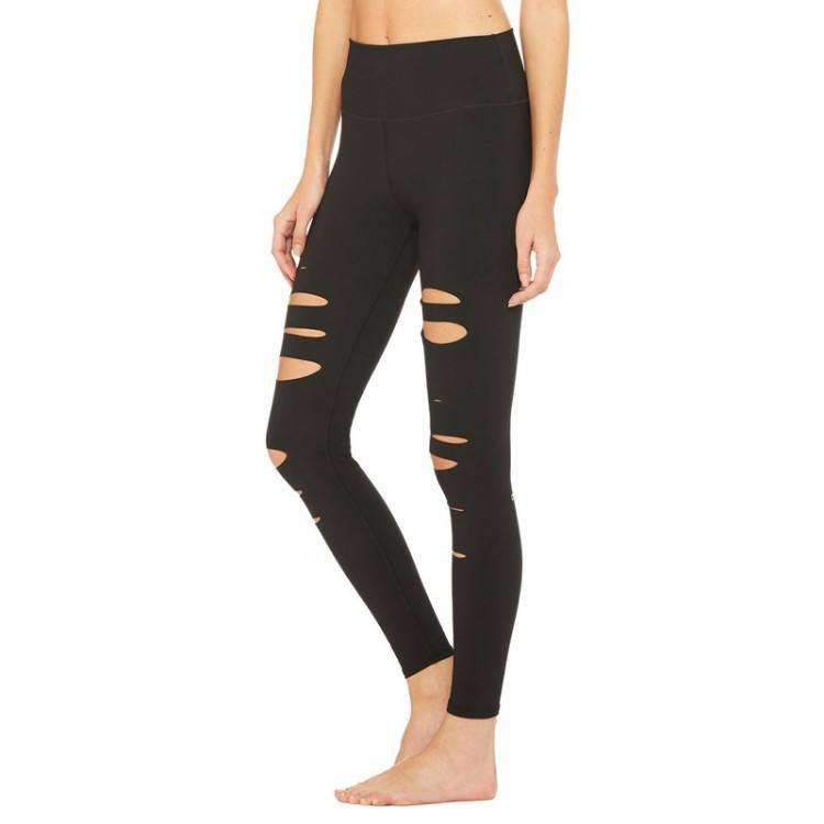 Women Sport Yoga Custom Gym Workout Leggings Polyester Elastine Ripped Yoga Pants