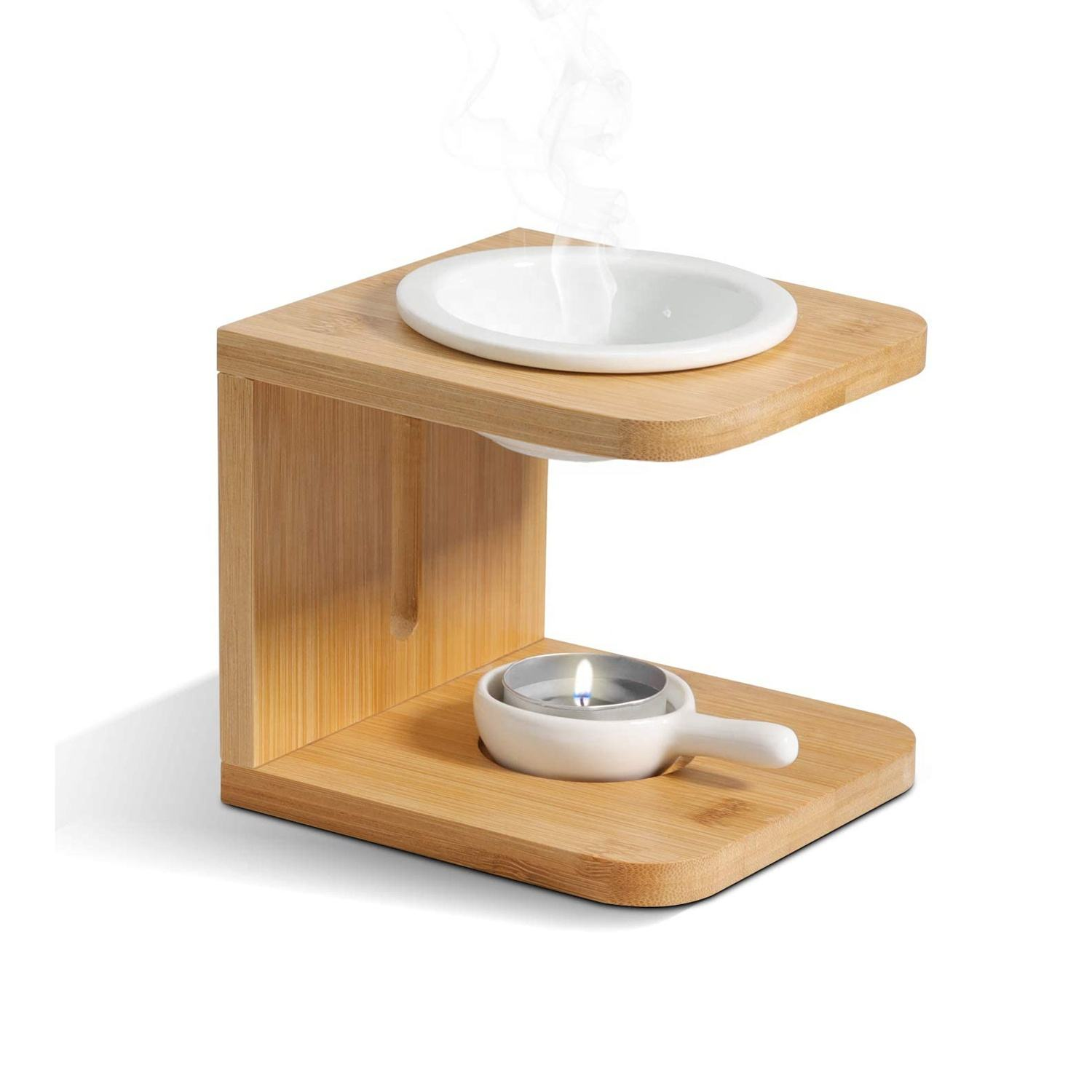 Wooden Bamboo Frame Essential Aroma Oil Burner Scented Wax Melt Burner For Yoga Spa Home Decor