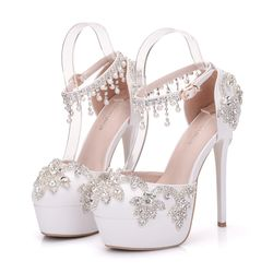 Sandals White Round Toe Bridal Wedding Women Shoes Crystal H