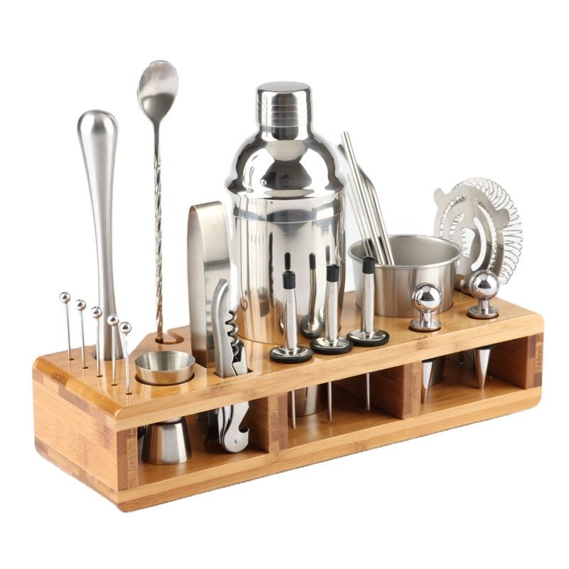 Complete 21-Pieces Bartender Kit, Premium Cocktail Bar Shaker Set , Stainless Steel Bar Tools /Bar Accessories