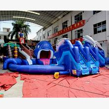 Shark attacking ship land inflatable water park giant pool water playground for sale