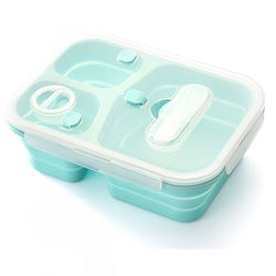 New Upgrade Silicone Lunch Box Microwavable Food Storage Container Collapsible Foldable