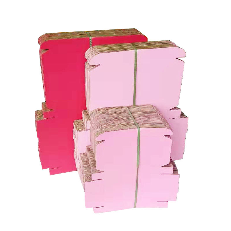 Wholesale Recycled pink color corrugated cardboard shipping packaging gift mailer shipping boxes in stock