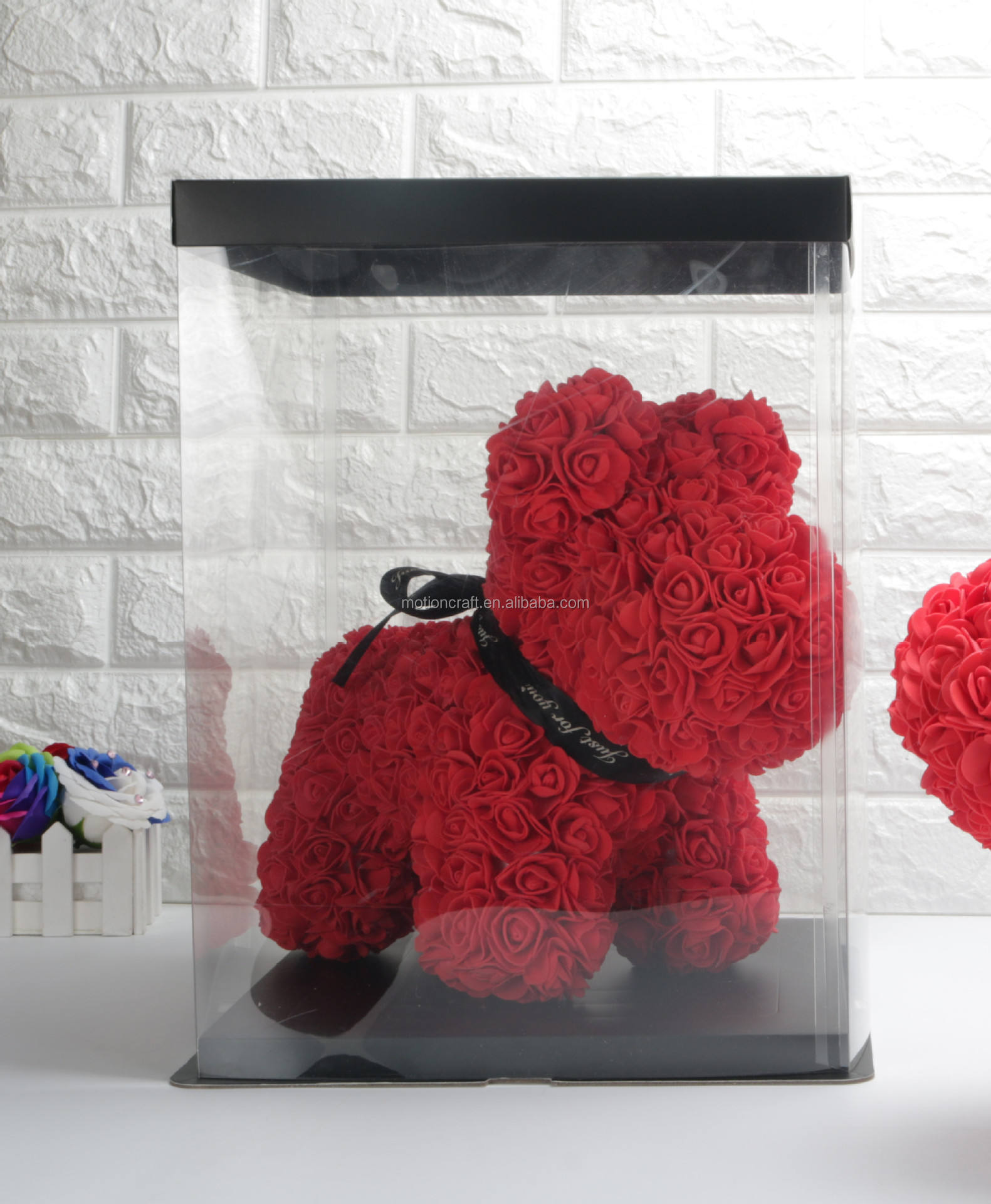 wholesale Super big PVC clear flower rose bear gift box for rose dog size 43*27*37cm