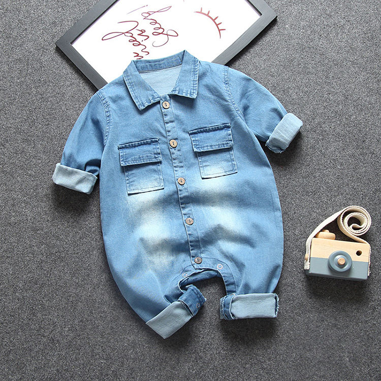 0-2 years baby long sleeve romper jeans rompers with printing