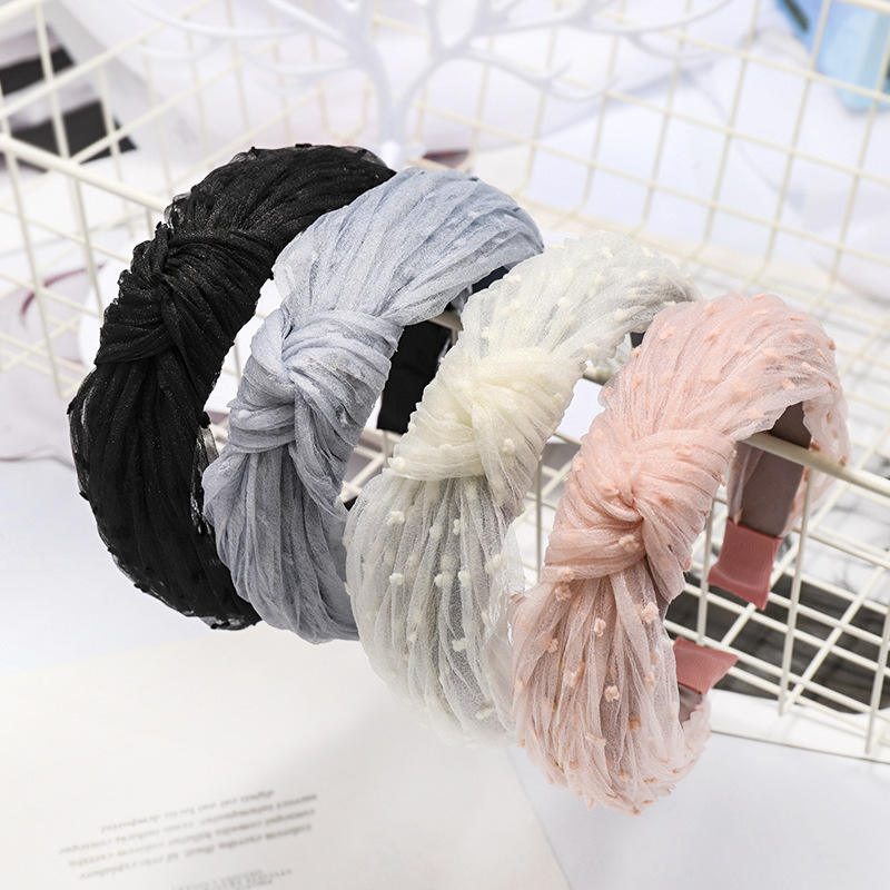 Fashion European American Girls New Pink Black Lace Hair Bands Bow Knotted Dot Printed Lace Hairbands