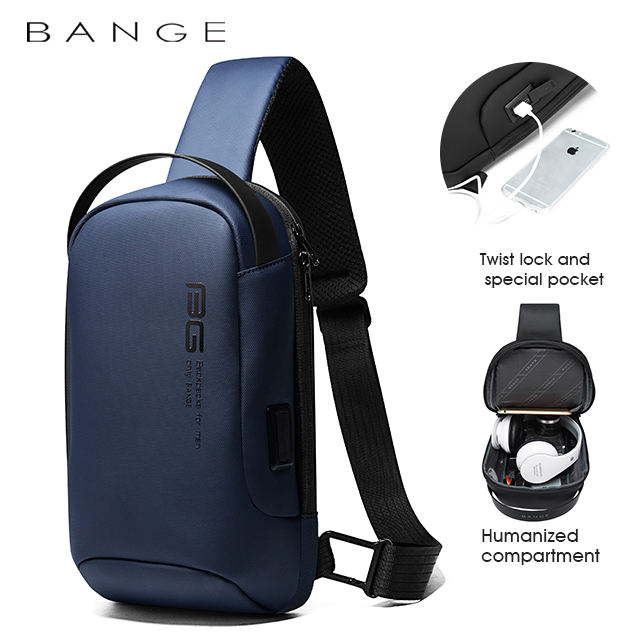 2020 factory hot sell usb blue korean cheap waterproof cell phone anti theft crossbody sling bag men sling bag