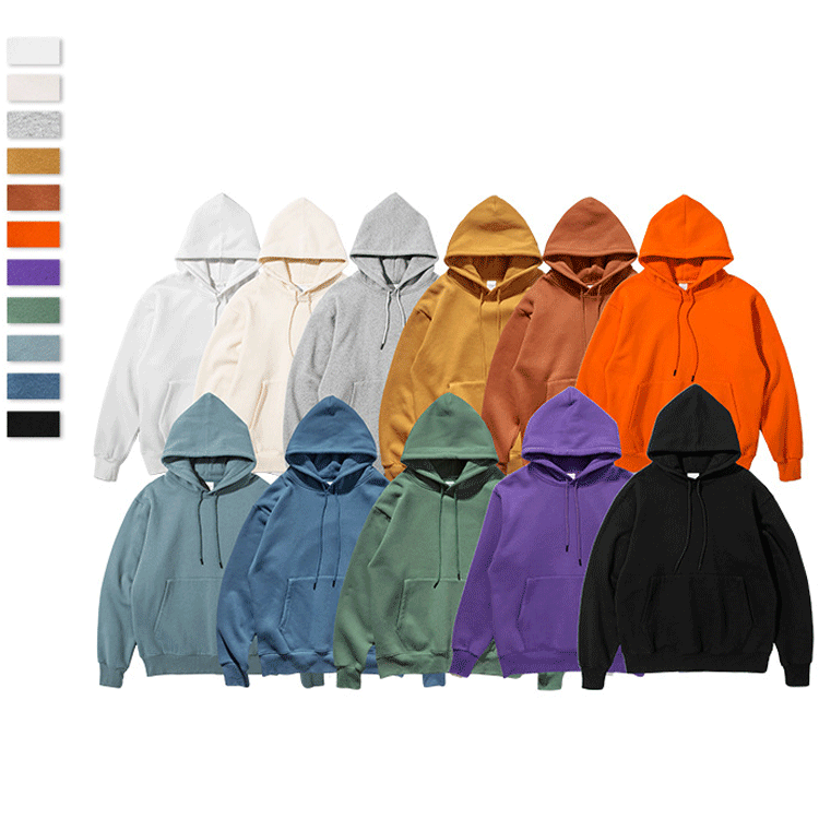 Factory Outlet Custom Basic Simple Oversized Men Solid Fleeced Hoodies For Casual Or StreetWear